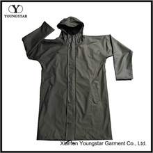 Extra Long Waterproof Raincoat Military Green Stylish Raincoat With Hood